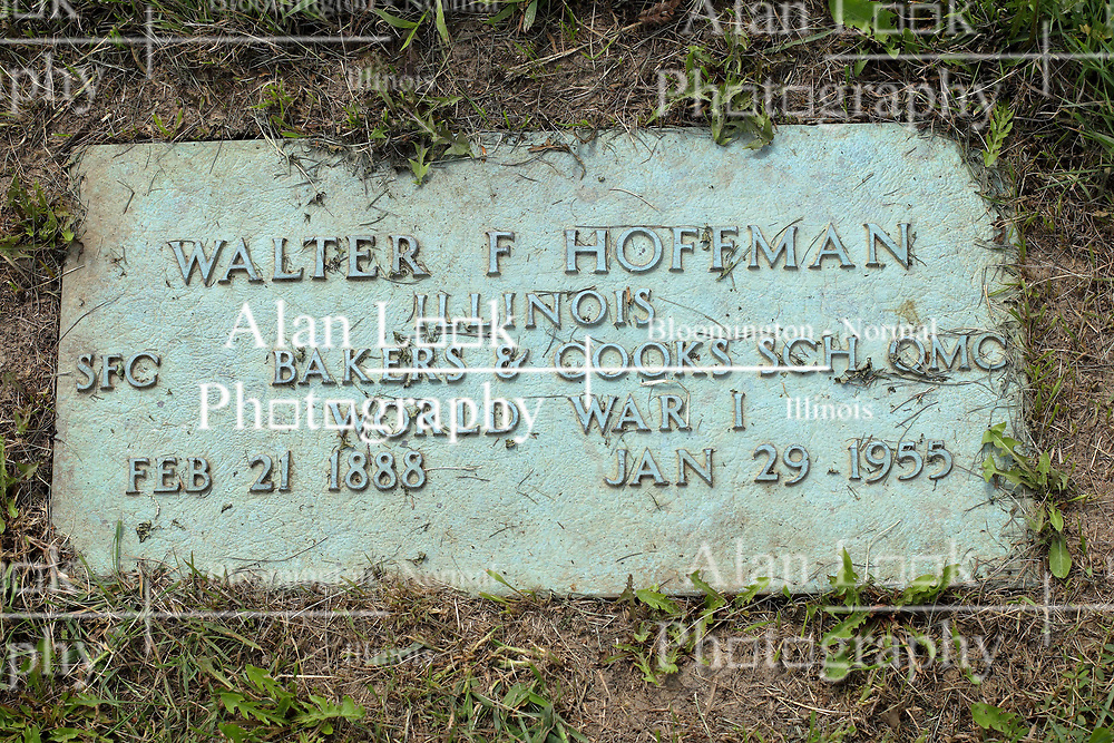 31 August 2017:   Veterans graves in Park Hill Cemetery in eastern McLean County.<br /> <br /> Walter F Hoffman  Illinois  SFC Bakers & Cooks SCH QMC  World War I  Feb 21 1888 Jan 29 1955