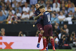 May 9, 2019 - Valencia, Spain - Lacazette of Asenal celebrates the goal of his team during the UEFA Europa League Semi Final Second Leg match between Valencia and Arsenal at Estadio Mestalla on May 9, 2019 in Valencia, Spain. (Credit Image: © Jose Breton/NurPhoto via ZUMA Press)