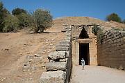 The entry way to the Treasury of Atreus, a royal tomb at Mycenae near Nafplion, Greece.