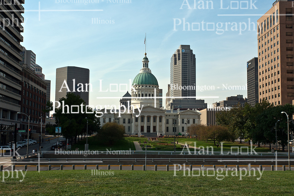 18 October 2010: Taken from  Gateway Arch park, parts of Market Street and downtown St. Louis including the old state capitol building can be viewed. a very wide angle lens was used for this shot and distortion and vignetting are a natural occurrence.  Some of those effects have been partially corrected via editing. St. Louis Missouri