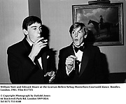 William Nott and Edward Hoare at the Grattan-Bellew/Sebag-Montefiore/Courtauld dance. Boodles. London. 1981. Film 81173f1<br />