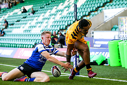 Zach Kibirige of Wasps scores a try - Mandatory by-line: Robbie Stephenson/JMP - 13/09/2019 - RUGBY - Franklin's Gardens - Northampton, England - Bath Rugby 7s v Wasps 7s - Premiership Rugby 7s