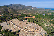 La Moleta del Remei, aerial view, a pre-Iberian settlement built 9th - 7th century BC by the Ilercavones tribe, on the Sierra del Montsia at a strategic site between the river Ebro and the Mediterranean Sea, Catalonia, Spain. The settlement could house 500 people, with houses centred around a courtyard and walls surrounding the rim. The earlier settlement was abandoned c. 600 BC and rebuilt later by the Iberians and occupied until the 2nd century BC. Picture by Manuel Cohen
