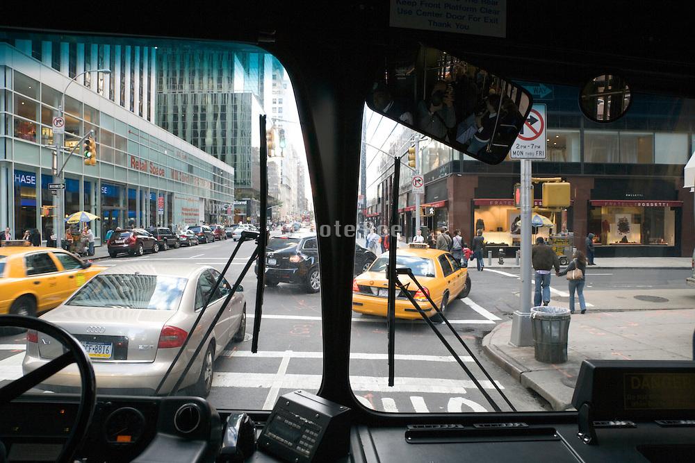 New York City bus in traffic