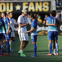 ORLANDO, FL - OCTOBER 25: In her final game Abby Wambach #20 of USWNT shakes hands with Marta #10 of Brazil during a women's international friendly soccer match between Brazil and the United States at the Orlando Citrus Bowl on October 25, 2015 in Orlando, Florida. (Photo by Alex Menendez/Getty Images) *** Local Caption *** Abby Wambach; Marta