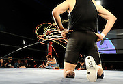 Wrestlers prepare to do battle prior to a bout  at Doglegs, an event for wrestlers with physical and mental handicaps in Tokyo, Japan.
