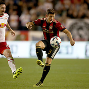 HARRISON, NEW JERSEY- OCTOBER 15: Kevin Kratz #8 of Atlanta United challenged by Sacha Kljestan #16 of New York Red Bulls during the New York Red Bulls Vs Atlanta United FC, MLS regular season match at Red Bull Arena, Harrison, New Jersey on October 15, 2017 in Harrison, New Jersey. (Photo by Tim Clayton/Corbis via Getty Images)