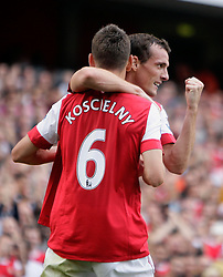 11.09.2010, Emirates Stadium, London, ENG, PL, FC Arsenal vs Bolton Wanderers, im Bild Arsenal's Laurent Koscielny  makes 1-0 and celebrates with Arsenal's Sebastien Squillaci      during Arsenal fc vs Bolton Wfc  . EXPA Pictures © 2010, PhotoCredit: EXPA/ IPS/ Marcello Pozzetti +++++ ATTENTION - OUT OF ENGLAND/UK +++++ / SPORTIDA PHOTO AGENCY