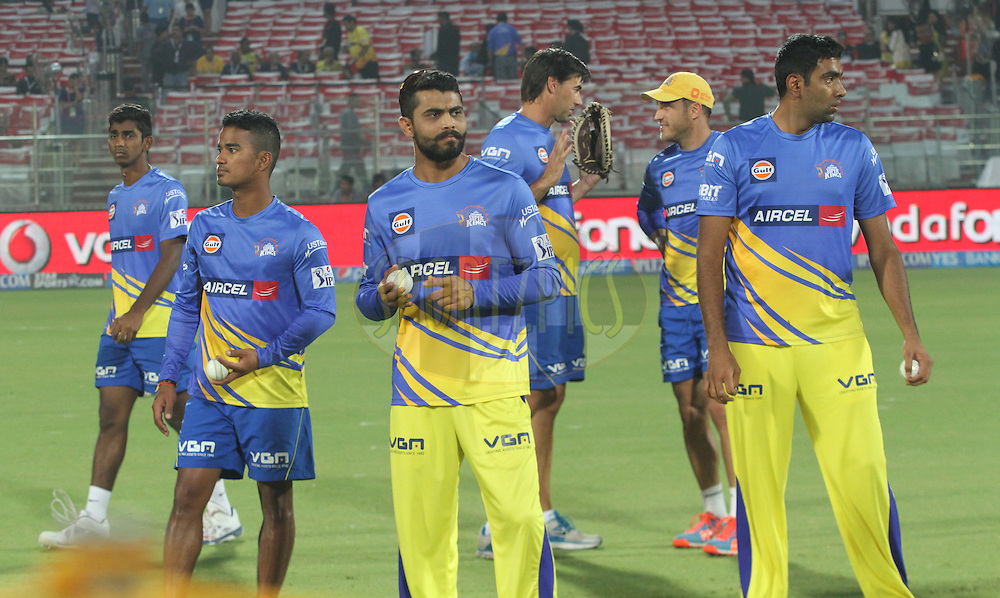 Chennai Superkings players before match 26 of the Pepsi Indian Premier League Season 2014 between the Delhi Daredevils and the Chennai Superkings held at the Ferozeshah Kotla cricket stadium, Delhi, India on the 5th May  2014<br /> <br /> Photo by Arjun Panwar / IPL / SPORTZPICS<br /> <br /> <br /> <br /> Image use subject to terms and conditions which can be found here:  http://sportzpics.photoshelter.com/gallery/Pepsi-IPL-Image-terms-and-conditions/G00004VW1IVJ.gB0/C0000TScjhBM6ikg