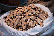 Dried root ginger on sale at Khari Baoli spice and dried foods market, Old Delhi, India