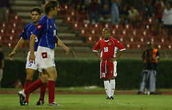 BELGRADE, SERBIA & MONTENEGRO - Wednesday, August 20, 2003: Wales' Robert Earnshaw looks dejected after missing a chance during the UEFA European Championship qualifying match against Serbia & Montenegro at the Red Star Stadium. (Pic by David Rawcliffe/Propaganda)