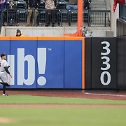 NEW YORK, NEW YORK - MAY 01: Juan Lagares #12 of the New York Mets is robbed of a triple due to fan interference as Hunter Pence #8 of the San Francisco Giants looks on during the New York Mets Vs San Francisco Giants MLB regular season game at Citi Field on May 01, 2016 in New York City. (Photo by Tim Clayton/Corbis via Getty Images)