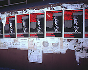 "Posters on a street underpass wall in San Francisco. NOTE: Click ""Shopping Cart"" icon for available sizes and prices. If a ""Purchase this image"" screen opens, click arrow on it. Doing so does not constitute making a purchase. To purchase, additional steps are required."