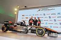 (L to R): Nico Hulkenberg (GER) Sahara Force India F1 with Dr. Vijay Mallya (IND) Sahara Force India F1 Team Owner and Sergio Perez (MEX) Sahara Force India F1.<br /> Sahara Force India F1 Team Livery Reveal, Soumaya Museum, Mexico City, Mexico. Wednesday 21st January 2015.