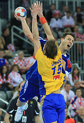 Jerome Fernandez (2) of France during 21st Men's World Handball Championship 2009 Main round Group I match between National teams of France and Sweden, on January 24, 2009, in Arena Zagreb, Zagreb, Croatia.  (Photo by Vid Ponikvar / Sportida)