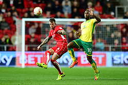 Aden Flint of Bristol City clears the ball from Cameron Jerome of Norwich City - Mandatory by-line: Dougie Allward/JMP - 07/03/2017 - FOOTBALL - Ashton Gate - Bristol, England - Bristol City v Norwich City - Sky Bet Championship