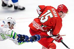 Miha Zajc of Slovenia vs Artyom Demkov of Belarus during ice hockey match between Belarus and Slovenia at IIHF World Championship DIV. I Group A Kazakhstan 2019, on May 2, 2019 in Barys Arena, Nur-Sultan, Kazakhstan. Photo by Matic Klansek Velej / Sportida