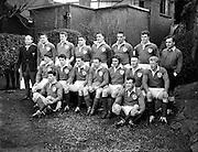 Irish Rugby Football Union, Ireland v England, Five Nations, Landsdowne Road, Dublin, Ireland, Saturday 11th February, 1961,.11.2.1961, 2.11.1961,..Referee- G J Treharne, Welsh Rugby Union, ..Score- Ireland 11 - 8 England, ..Irish Team, ..T J Kiernan,  Wearing number 15 Irish jersey, Full Back, University college Cork Football Club, Cork, Ireland,  ..R J McCarten, Wearing number 14 Irish jersey, Right Wing, London Irish Rugby Football Club, Surrey, England,..D Hewitt, Wearing number 13 Irish jersey, Right centre, Queens University Rugby Football Club, Belfast, Northern Ireland,..J C Walsh,  Wearing number 12 Irish jersey, Left Centre, University college Cork Football Club, Cork, Ireland,..A J F O'Reilly, Wearing number 11 Irish jersey, Left Wing, Dolphin Rugby Football Club, Cork, Ireland, ..W K Armstrong, Wearing number 10 Irish jersey, Stanf Off, N.I.F.C, Rugby Football Club, Belfast, Northern Ireland, ..J M Moffett, Wearing number 9 Irish jersey, Scrum Half, Ballymena Rugby Football Club, Antrim, Northern Ireland,..B G Wood, Wearing number 1 Irish jersey, Forward, Landsdowne Rugby Football Club, Dublin, Ireland,..A R Dawson, Wearing number 2 Irish jersey, Captain of the Irish team, Forward, Wanderers Rugby Football Club, Dublin, Ireland, ..S Millar, Wearing number 3 Irish jersey, Forward, Ballymena Rugby Football Club, Antrim, Northern Ireland,..W A Mulcahy, Wearing number 4 Irish jersey, Forward, University College Dublin Rugby Football Club, Dublin, Ireland, ..M G Culliton, Wearing number 5 Irish jersey, Forward, Wanderers Rugby Football Club, Dublin, Ireland, ..J R Kavanagh, Wearing number 6 Irish jersey, Forward, Wanderers Rugby Football Club, Dublin, Ireland, ..P J A O' Sullivan, Wearing  Number 8 Irish jersey, Forward, Galwegians Rugby Football Club, Galway, Ireland,..N A Murphy, Wearing number 7 Irish jersey, Forward, Garryowen Rugby Football Club, Limerick, Ireland,