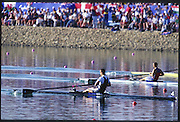 Sydney. AUSTRALIA. 2000 Summer Olympic Regatta, Penrith. NSW.  <br /> <br /> Men's Single final. Gold Medal. NZL M1X. Rob WADDELL.  Silver Medal, SUI M1X Xeno MULLER. Bronze Medal, GER M1X, Marcel HACKER<br /> <br /> <br /> [Mandatory Credit Peter SPURRIER/ Intersport Images] Sydney International Regatta Centre (SIRC) 2000 Olympic Rowing Regatta00085138.tif