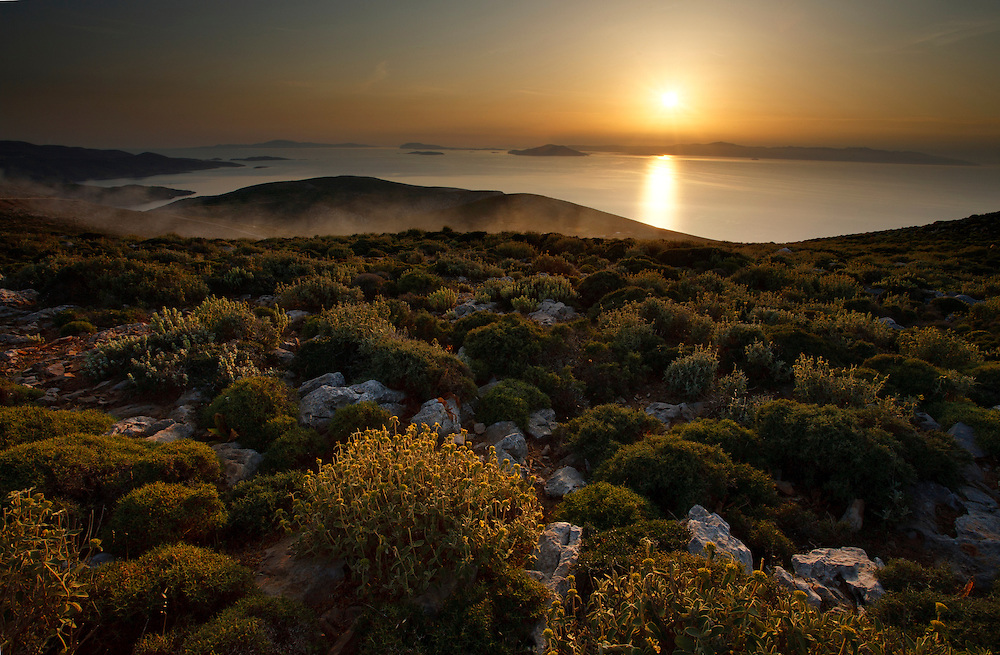 Amorgos and surrounding islands  in warm afternoon light, Cyclades, Greek islands, Greece