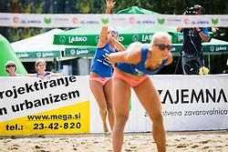 Monika Potokar of Sberbank and Erika Fabjan of Sberbank during Qlandia Beach Challenge 2015 and Beach Volleyball Slovenian National Championship 2015, on July 25, 2015 in Kranj, Slovenia. Photo by Ziga Zupan / Sportida