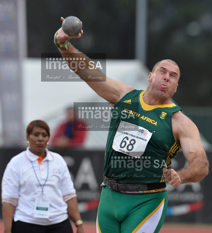 DURBAN, SOUTH AFRICA - JUNE 22: Burger Lambrechts of South Africa in the mens shot put final during the afternoon session on day 1 of the CAA 20th African Senior Championships at Kings Park Athletic stadium on June 22, 2016 in Durban, South Africa. (Photo by Roger Sedres/Gallo Images)