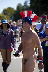 A naked man wanders through Golden Gate Park during the 105th running of the Bay to Breakers 12k, Sunday, May 15, 2016 in San Francisco. The 7.42-mile race from San Francisco Bay to the Pacific Ocean, attracts a field of tens of thousands of runners, from the elite to the weekend warrior, some clad in costume and some in nothing at all. (Photo by D. Ross Cameron)