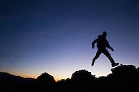 Man exploring Mt. Rainier National Park, WA.