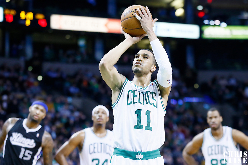 30 January 2013: Boston Celtics shooting guard Courtney Lee (11) is seen at the free throw line during the Boston Celtics 99-81 victory over the Sacramento Kings at the TD Garden, Boston, Massachusetts, USA.