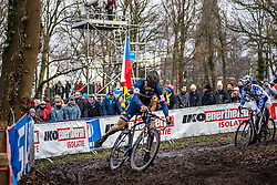 Steve CHAINEL (24,FRA) & Jonathan PAGE (17,USA), 7th lap at Men UCI CX World Championships - Hoogerheide, The Netherlands - 2nd February 2014 - Photo by Pim Nijland / Peloton Photos