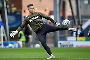 Leeds United goalkeeper Bailey Peacock-Farrell (1)warming up during the EFL Sky Bet Championship match between Blackburn Rovers and Leeds United at Ewood Park, Blackburn, England on 20 October 2018.