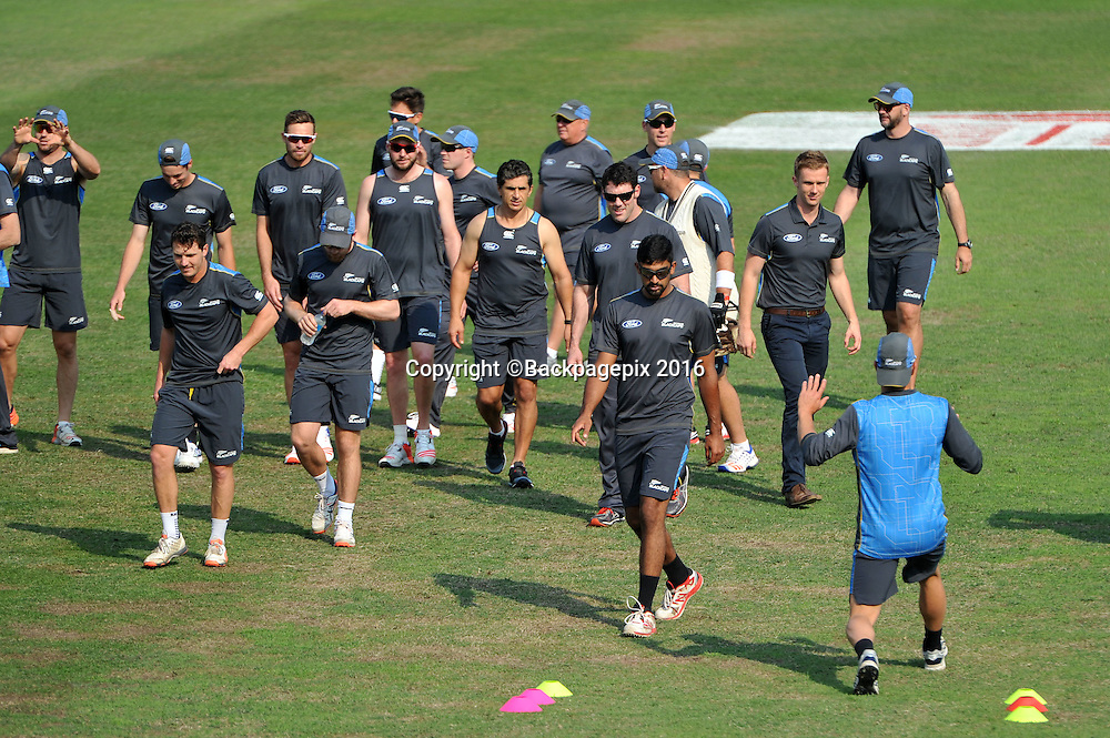 New Zealand team before training during the Sunfoil Test Series New Zealand Training and Press Conference at Kingsmead Stadium, Durban South Africa on 18 August 2016 ©Muzi Ntombela/BackpagePix