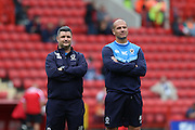 AFC Wimbledon first team coach Simon Bassey & AFC Wimbledon assistant coach Neil Cox prior the EFL Sky Bet League 1 match between Charlton Athletic and AFC Wimbledon at The Valley, London, England on 17 September 2016. Photo by Stuart Butcher.