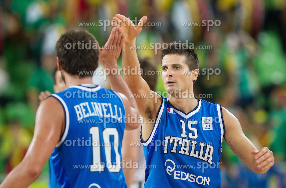 Marco Belinelli #10 of Italy and Andre Cinciarini #15 of Italy during basketball match between National teams of Italy and Lithuania in Quarterfinals at Day 16 of Eurobasket 2013 on September 19, 2013 in Arena Stozice, Ljubljana, Slovenia. (Photo by Vid Ponikvar / Sportida.com)