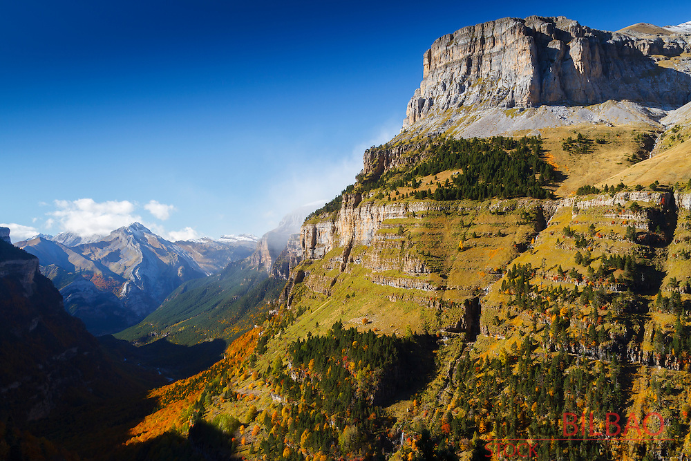 Mountains view. <br /> Ordesa National Park. Pyrenees mountain range. Huesca, Spain, Europe.