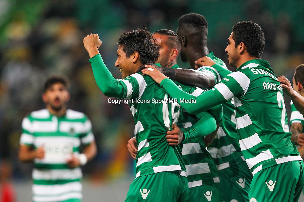 Joie Junya Tanaka / groupe Sporting - 28.01.2015 - Sporting / Vitoria Setubal -Coupe de la ligue- Portugal-<br /> Photo : Carlos Rodrigues /  Icon Sport