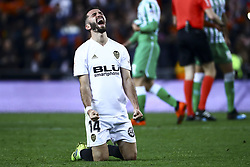 February 28, 2019 - Valencia, Spain - Jose Luis Gaya of Valencia CF  During Spanish King La Copa match between  Valencia cf vs Real Betis Balompie Second leg  at Mestalla Stadium on February 28, 2019. (Photo by Jose Miguel Fernandez/NurPhoto) (Credit Image: © Jose Miguel Fernandez/NurPhoto via ZUMA Press)