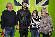 Forest Green Rovers Liam Shephard(2) with his kit sponsor during the EFL Sky Bet League 2 match between Forest Green Rovers and Carlisle United at the New Lawn, Forest Green, United Kingdom on 28 January 2020.