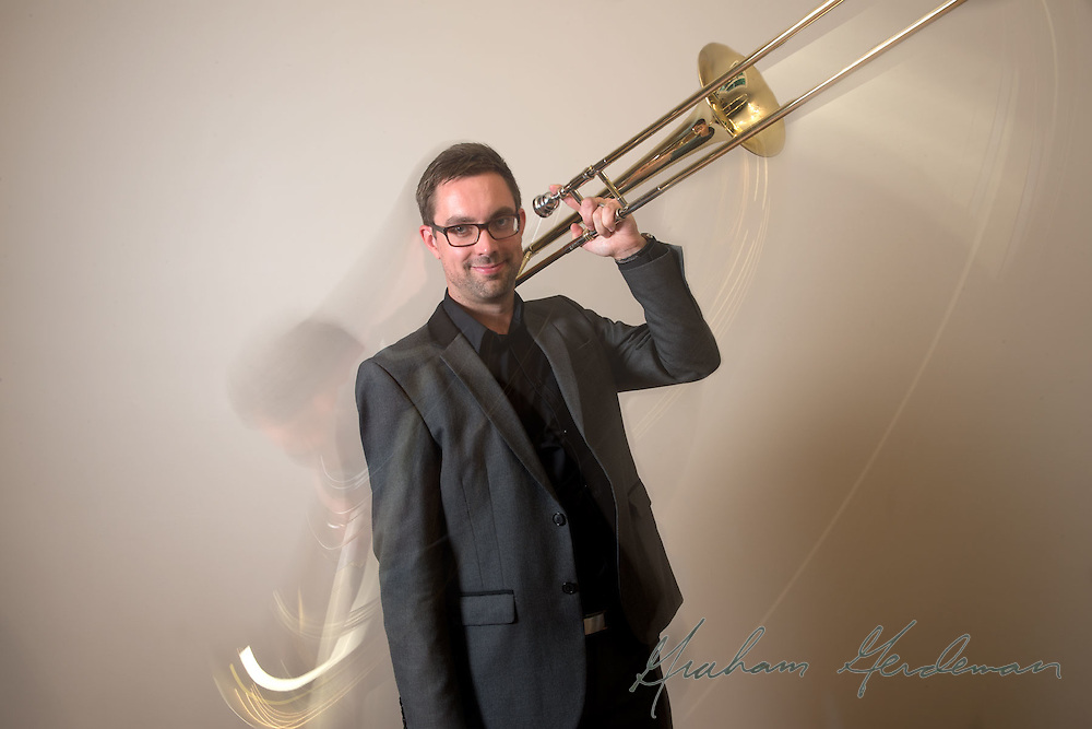 Promotional Endorsement Photo for Shilke Trombone artist Oscar Utterstrom. Playing with motion.