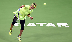 Victoria Azarenka of Belarus competes during the first round match against Angelique Kerber of Germany in the WTA Qatar Open tennis tournament in Doha, Qatar, Feb. 23, 2015. Victoria Azarenka won 2-0. EXPA Pictures © 2015, PhotoCredit: EXPA/ Photoshot/ Chen Shaojin<br /> <br /> *****ATTENTION - for AUT, SLO, CRO, SRB, BIH, MAZ only*****