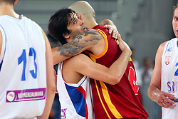 Milos Teodosic of Serbia and Pero Antic of Macedonia at friendly match between Serbia and Macedonia for Adecco Cup 2011 as part of exhibition games before European Championship Lithuania on August 7, 2011, in SRC Stozice, Ljubljana, Slovenia. (Photo by Urban Urbanc / Sportida)