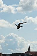 20.06.15. Copenhagen, Denmark.Orlando Duque jump from the 28 metre platform atop the Copenhagen Opera House.Photo:© Ricardo Ramirez