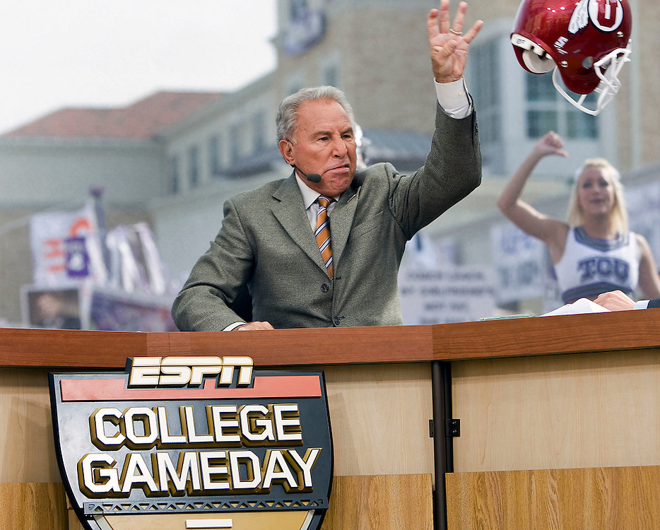 Lee Corso tosses away a University of Utah helmut as he makes his pick for TCU to defeat Utah on ESPN's Game Day from the campus of TCU in Fort Worth, Texas Saturday, Nov. 14, 2009. Utah takes on TCU later in the day. August Miller, Deseret News .