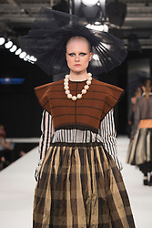 """© Licensed to London News Pictures. 02/06/2015. London, UK. Collection by Maurice Connolly, UCA Rochester. Runway show """"Best of Graduate Fashion Week 2015"""". Graduate Fashion Week takes place from 30 May to 2 June 2015 at the Old Truman Brewery, Brick Lane. Photo credit : Bettina Strenske/LNP"""