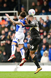 Dom Telford of Bristol Rovers challenges for the header with Nathan Cameron of Bury - Mandatory by-line: Dougie Allward/JMP - 30/03/2018 - FOOTBALL - Memorial Stadium - Bristol, England - Bristol Rovers v Bury - Sky Bet League One