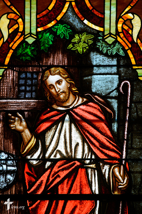 Stained glass depicting Jesus Christ from the Gospel of Jesus Christ according to John (John 10) at Zion Lutheran Church on Thursday, July 13, 2017, in Ottawa, Ill.  LCMS Communications/Erik M. Lunsford