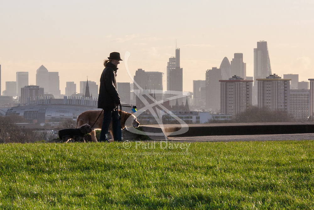 December 11th 2014. A woman walks her dogs on Primrose Hill, with London's dramatic skyline in the background.