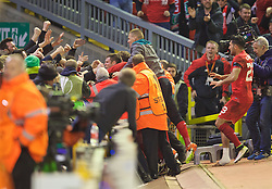 LIVERPOOL, ENGLAND - Thursday, April 14, 2016: Liverpool's Dejan Lovren [hidden] celebrates a dramatic injury time winning fourth goal to seal a 4-3 (5-4 aggregate) victory over Borussia Dortmund during the UEFA Europa League Quarter-Final 2nd Leg match at Anfield. (Pic by David Rawcliffe/Propaganda)