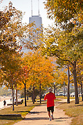 Jogger along Lake Michigan in downtown Chicago, IL.