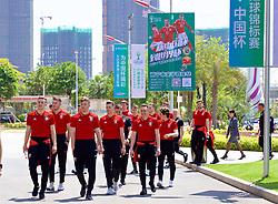NANNING, CHINA - Tuesday, March 20, 2018: Wales players during a team walk at the Wanda Realm Resort ahead of the 2018 Gree China Cup International Football Championship. (Pic by David Rawcliffe/Propaganda)